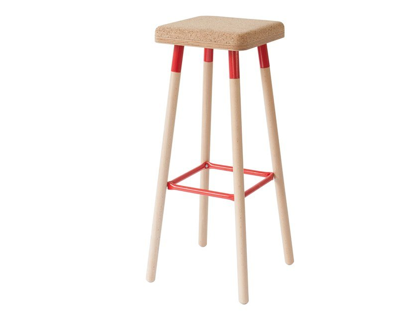 High cork stool with footrest MARCO | High stool by UBIKUBI