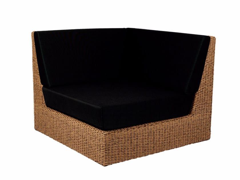 Corner upholstered modular fabric garden armchair ABONDO | Corner garden armchair by ROYAL BOTANIA