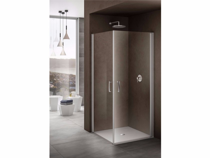 Corner shower cabin with tray with hinged door LOOK | Corner shower cabin by Provex Industrie