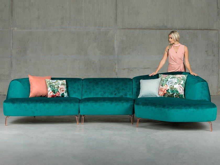 Fabric sofa with chaise longue ARECA | Sofa with chaise longue by Aquinos Collection