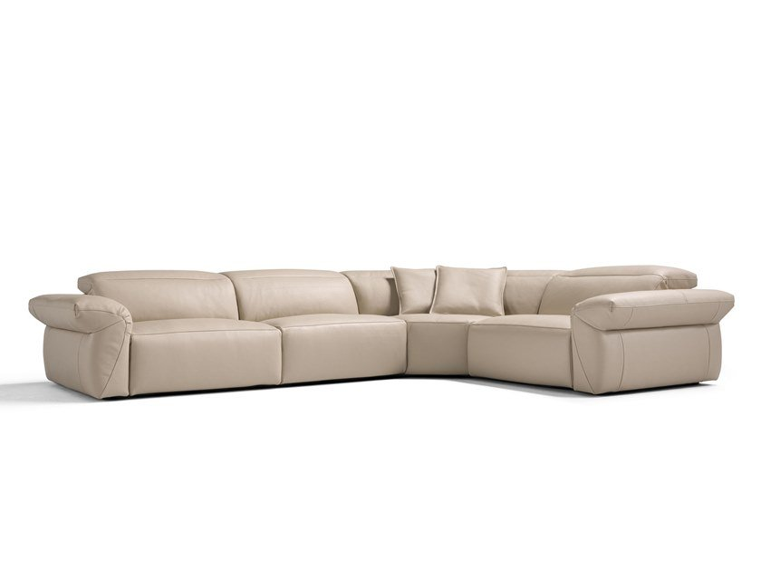 Corner Modular Leather Sofa With Electric Motion Harmony By Egoitaliano