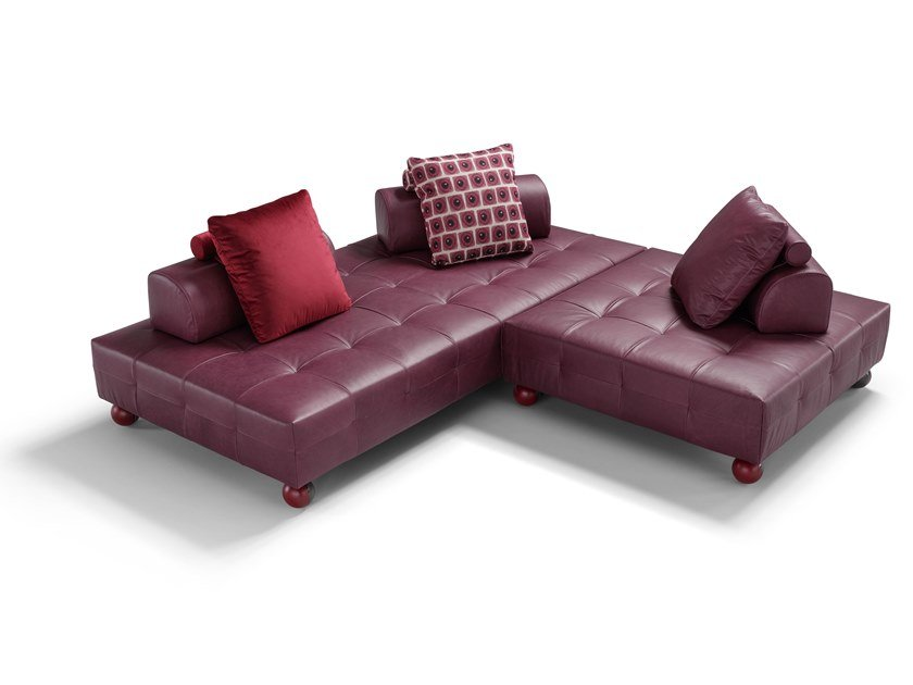 Corner tufted sectional leather sofa L'EGO | Corner sofa by Egoitaliano