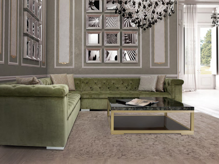 Corner tufted sectional velvet sofa ROMA | Corner sofa by Formitalia