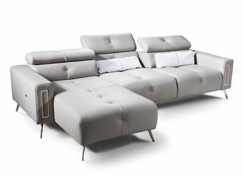 Corner leather sofa with chaise longue DELIA | Corner sofa by Nieri