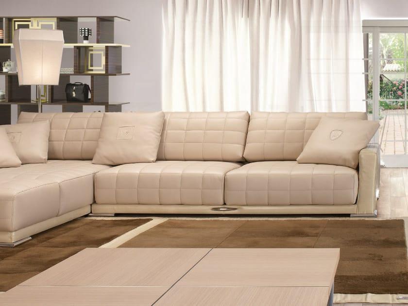 Corner sectional leather sofa with chaise longue BOOST | Corner sofa by Tonino Lamborghini Casa
