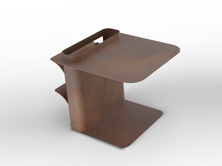 Corten™ coffee table with integrated magazine rack DAD | Corten™ coffee table by TrackDesign