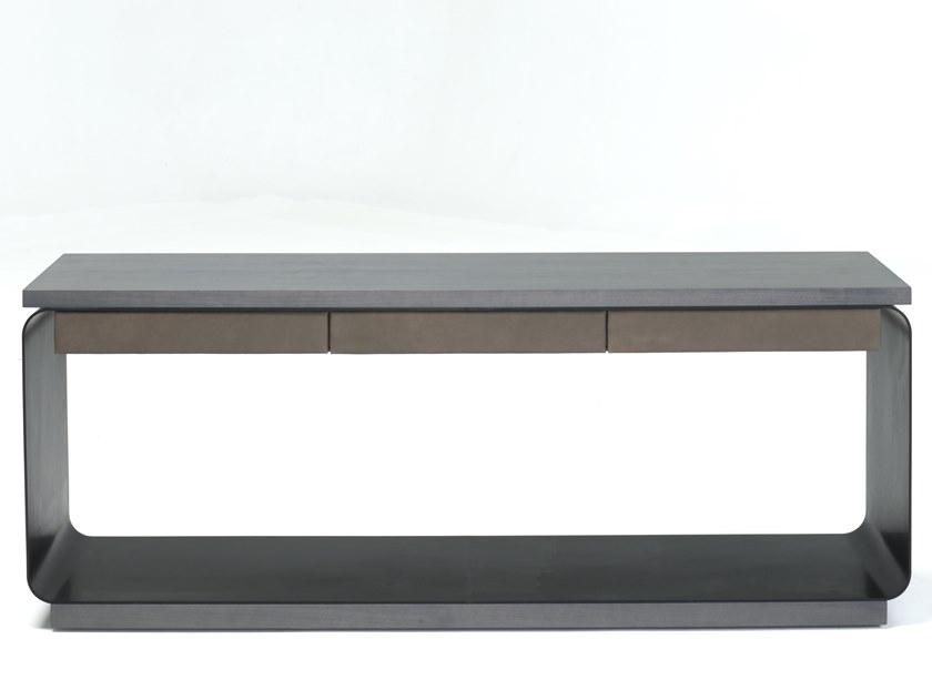 Rectangular aluminium and wood console table with drawers COSCIENZA by Disegnopiù