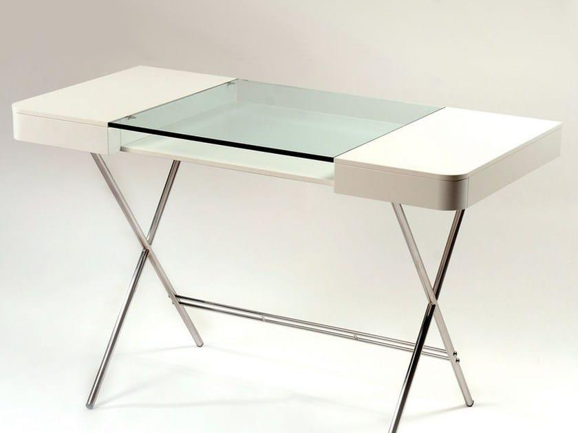 Schreibtisch Aus MDF Und Glas Mit Schubladen COSIMO LAQUÉ BLANC MAT By  Adentro