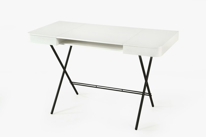 MDF Writing Desk With Drawers COSIMO LAQUÉ BLANC MAT   MDF By Adentro