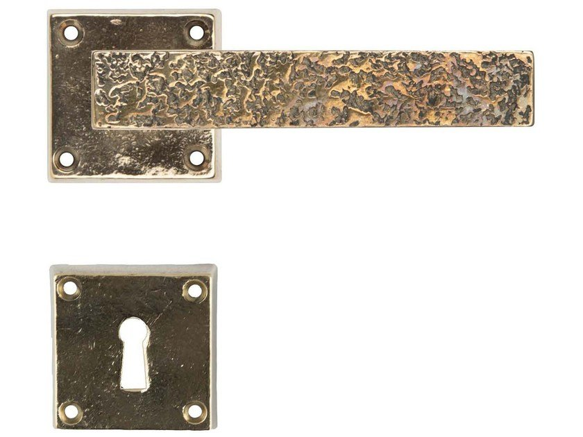 Bronze door handle on rose with lock COSMO by GIARA