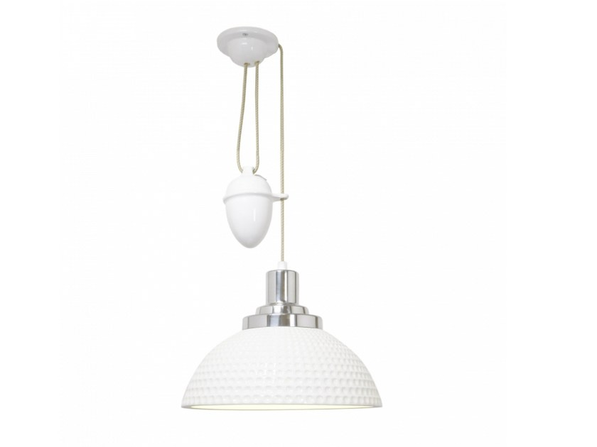 Adjustable porcelain pendant lamp with dimmer COSMO DIMPLE RISE & FALL by Original BTC
