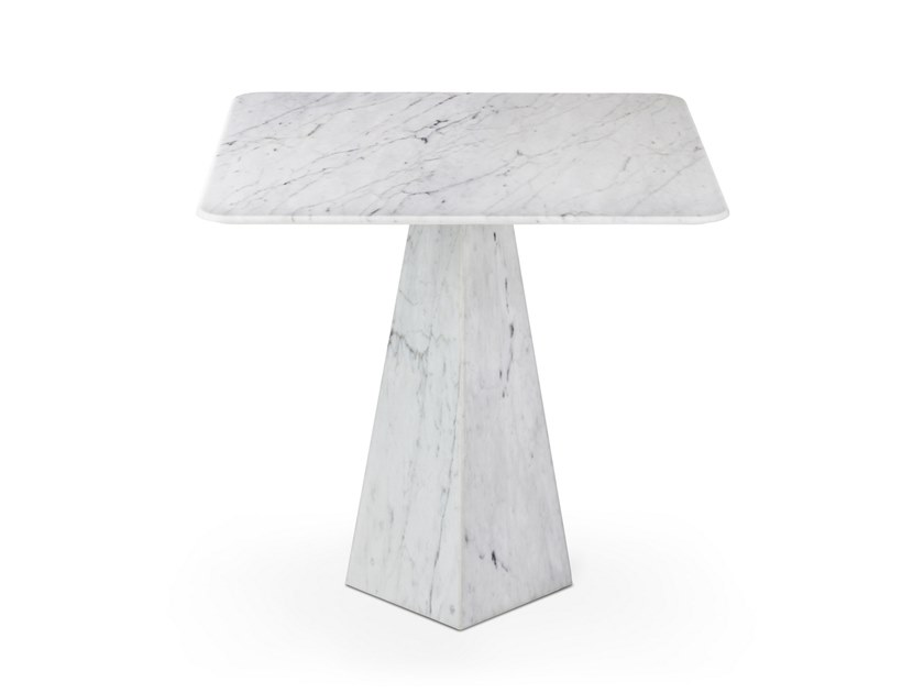 Square Carrara marble high side table COSMOS BIANCO CARRARA | High side table by OIA Design