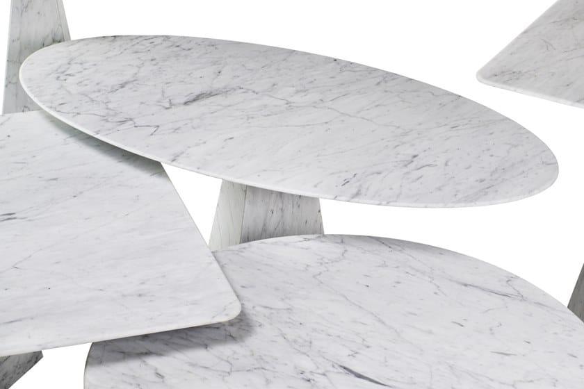 COSMOS BIANCO CARRARA Marble Coffee Table COSMOS Collection By OIA - White carrara marble coffee table