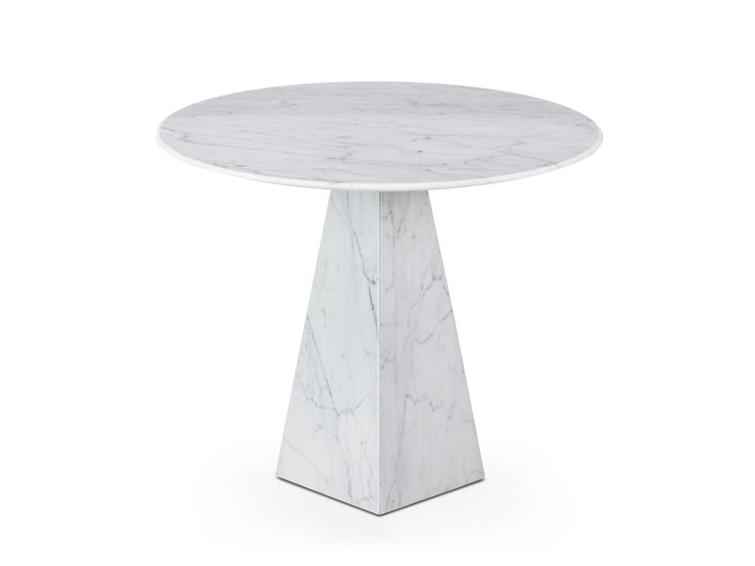 Round Carrara marble high side table COSMOS BIANCO CARRARA | Round coffee table by OIA Design