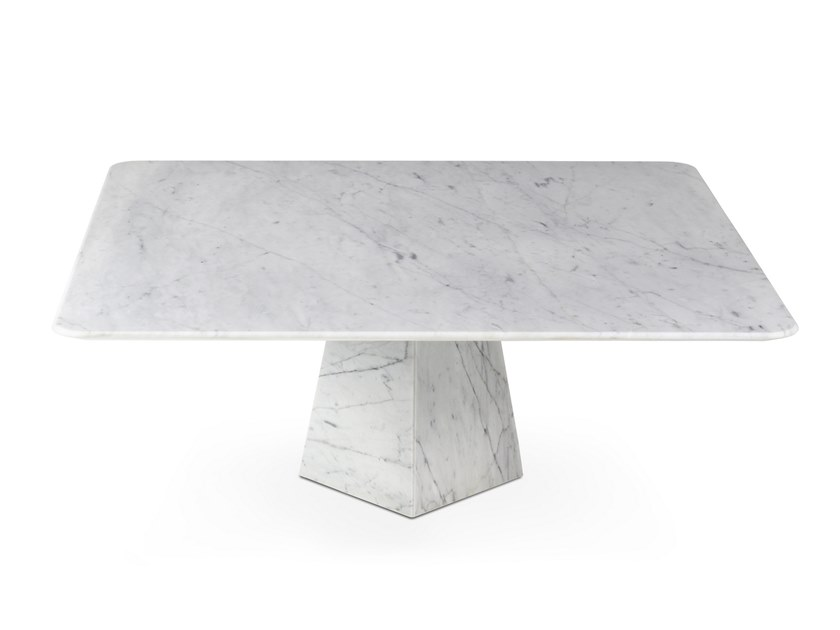 Low square Carrara marble coffee table COSMOS BIANCO CARRARA | Square coffee table by OIA Design