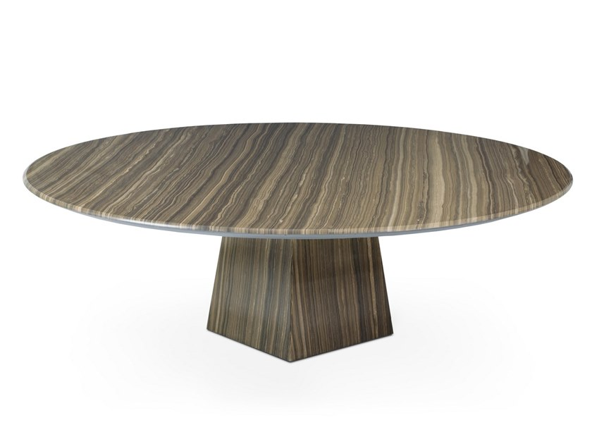 Low round Tobacco Brown marble coffee table COSMOS ERAMOSA | Marble coffee table by OIA Design