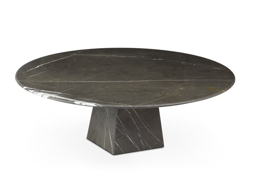 Low round Graphite Marble coffee table COSMOS GRAPHITE | Marble coffee table by OIA Design