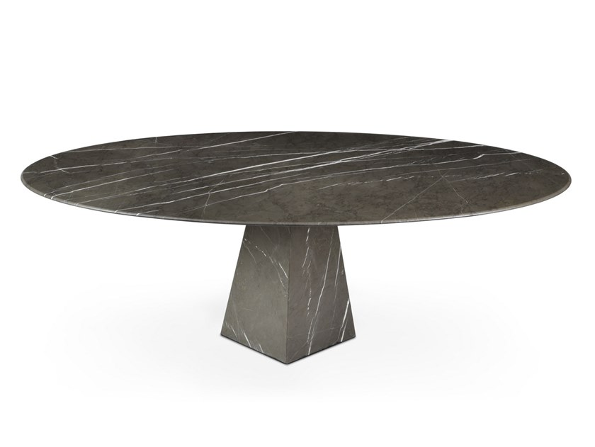 Low oval Graphite Marble coffee table COSMOS GRAPHITE | Low coffee table by OIA Design