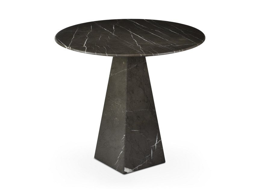 Round Graphite Marble high side table COSMOS GRAPHITE | Round coffee table by OIA Design