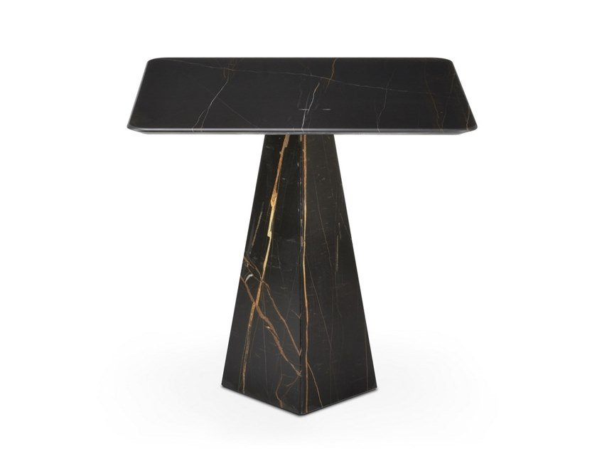 Square Sahara Noir marble high side table COSMOS SAHARA NOIR | High side table by OIA Design