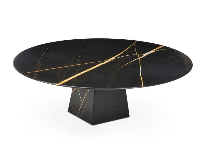 Low round Sahara Noir marble coffee table COSMOS SAHARA NOIR | Marble coffee table by OIA Design