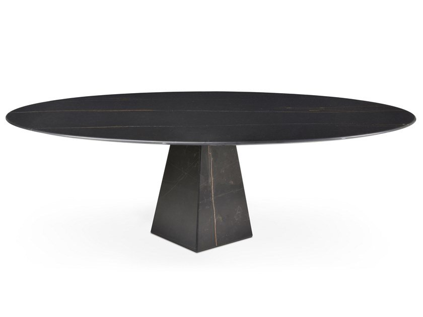 Low oval Sahara Noir marble coffee table COSMOS SAHARA NOIR | Low coffee table by OIA Design