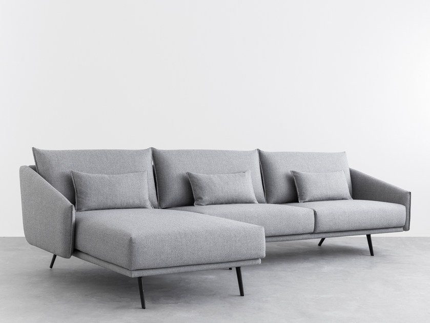 Fabric sofa with chaise longue COSTURA | Sofa with chaise longue by STUA