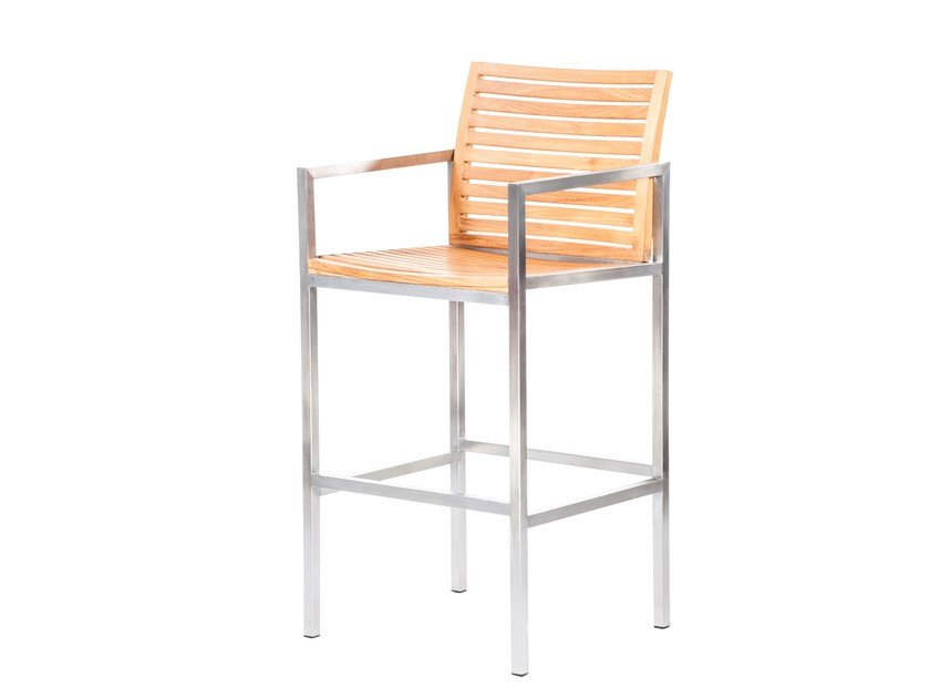 Steel and wood chair with armrests CITYSCAPE | Chair by 7OCEANS DESIGNS