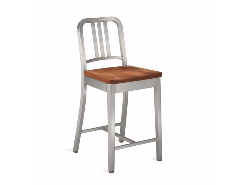 High aluminium and wood stool with back 1104 NAVY | High stool by Emeco