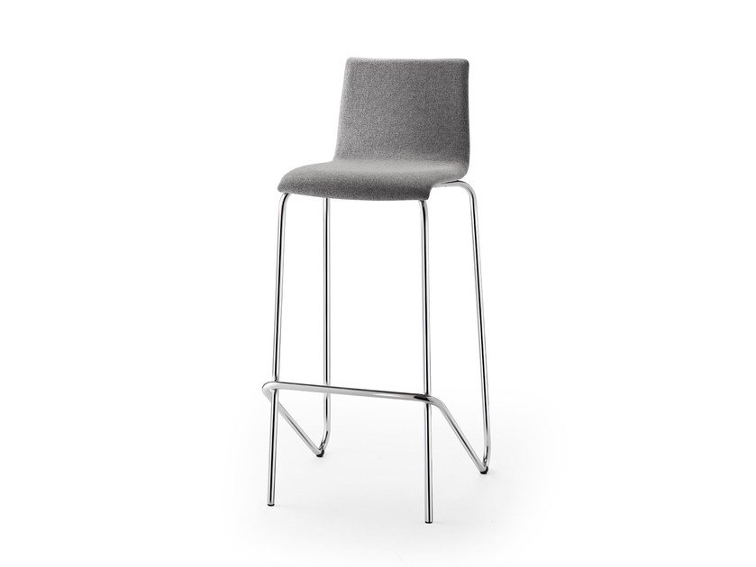 High stackable fabric stool with back ATICON | Fabric stool by rosconi