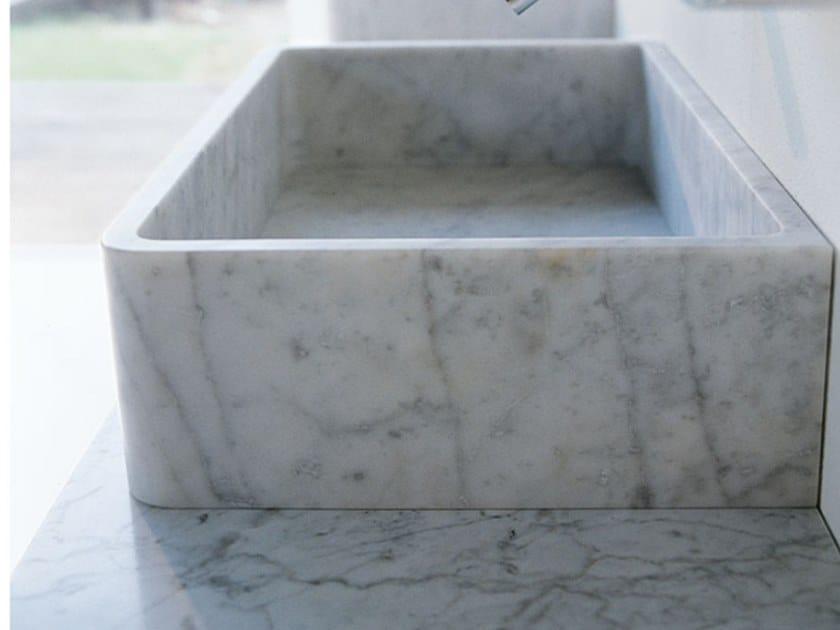 Countertop rectangular Carrara marble washbasin CARRARA | Countertop washbasin by Agape