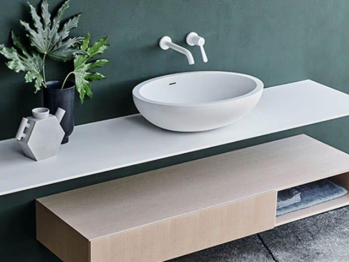 Countertop oval Cristalplant® washbasin SPOON XL | Countertop washbasin by Agape