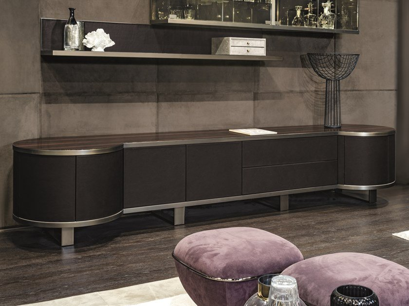 Leather sideboard with doors COURBET | Leather sideboard by Longhi