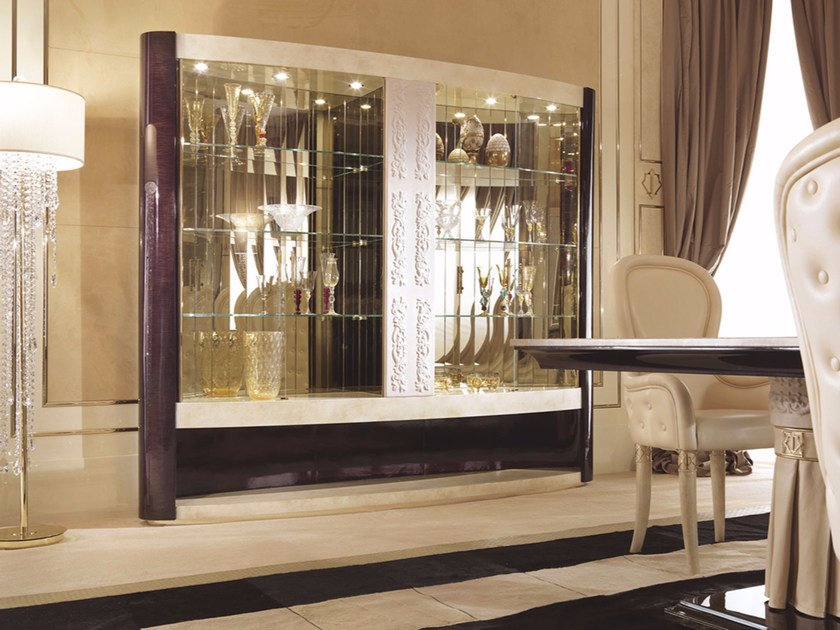 Lacquered wooden display cabinet COUTURE | Display cabinet by Turri