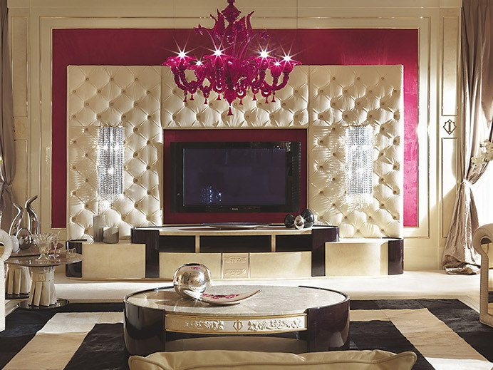 Modular lacquered wooden TV cabinet COUTURE | TV cabinet by Turri
