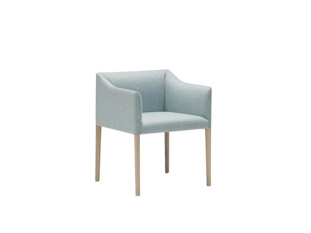 Upholstered fabric chair with armrests COUVÉ SO1267 by Andreu World