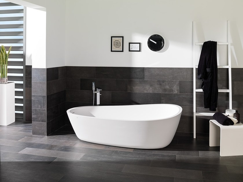 Porcelain stoneware wall/floor tiles with concrete effect COVER DARK by URBATEK