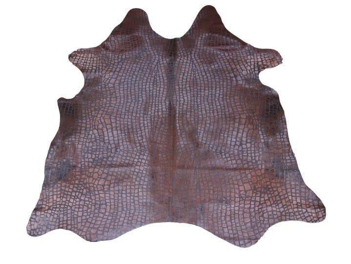 Handmade cowhide rug EMBOSSED CROCO DARK BROWN by EBRU