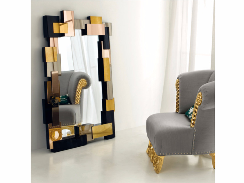 Freestanding rectangular framed mirror CP177 | Mirror by Rozzoni
