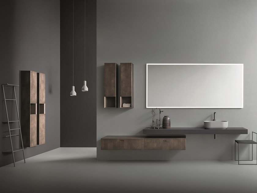 Wall-mounted oak vanity unit with mirror CR#2.01 by NOVELLO