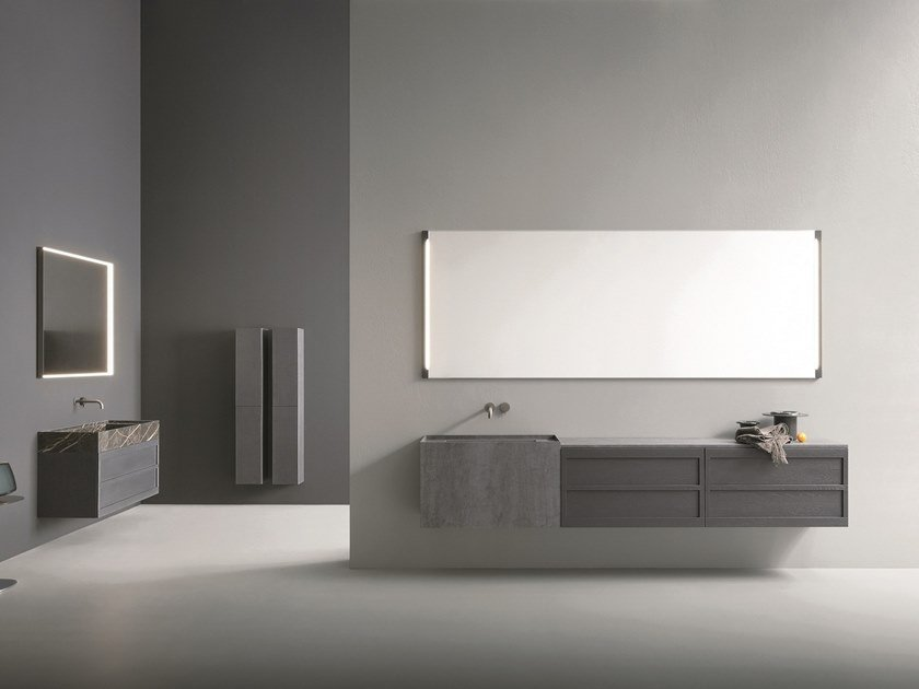 Wall-mounted Laminam® vanity unit with mirror CR#2.02 by NOVELLO