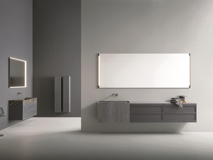 Mobile lavabo sospeso in Laminam® con specchio CR#2.02 by NOVELLO