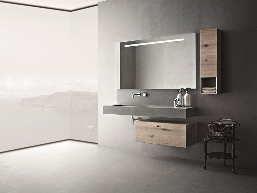 Wall-mounted oak vanity unit with mirror CR#2.05 by NOVELLO