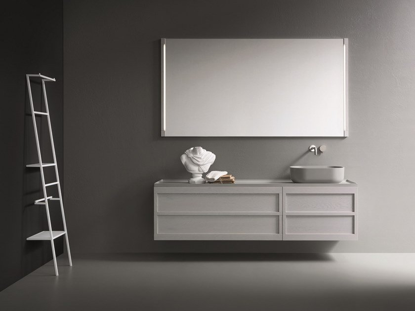 Wall-mounted oak vanity unit with mirror CR#2.10 by NOVELLO