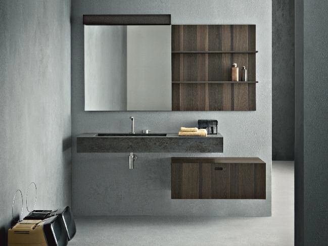 Wall-mounted oak vanity unit with mirror CR#2.12 by NOVELLO