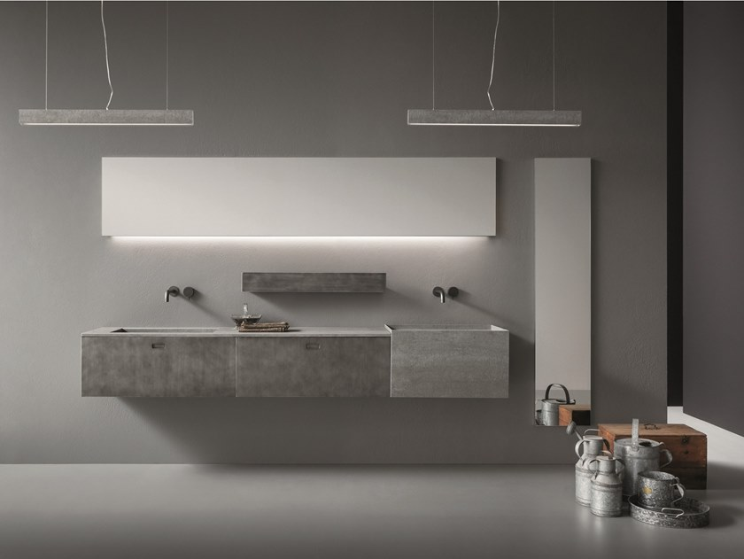 Double wall-mounted Laminam® vanity unit with drawers CR#2.11 by NOVELLO