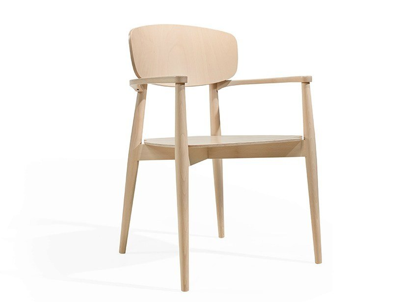 Wooden chair with armrests CRAFT CB by Fenabel