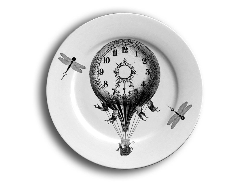 Porcelain dinner plate CRAZY CLOCKS 2 by Massimiliano Toniol
