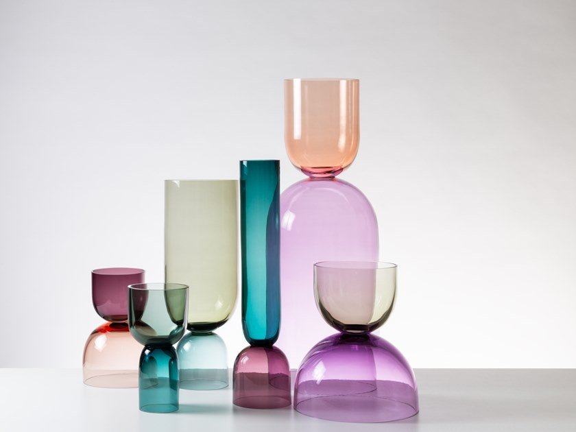 Blown glass vase CRESCENT by SkLO