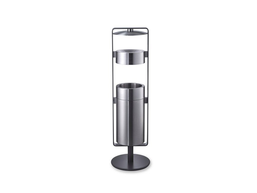 Stainless steel litter bin with ashtray CREW 02 by rosconi